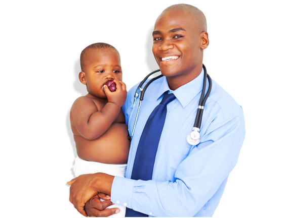 doctor carrying a baby